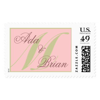 Monogram M and First Names Pink and Green Postage