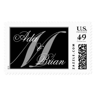 Monogram M and First Names Wedding Postage Stamp