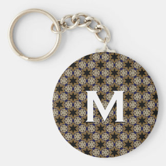 Monogram M Blue Black and Gold Star Pattern Keychain