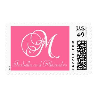 Monogram M Bride Groom Wedding Postage Stamps