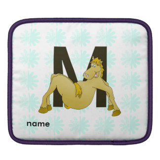 Monogram M Cartoon Pony Personalised iPad Sleeve