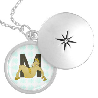 Monogram M Cartoon Pony Personalised Silver Plated Necklace