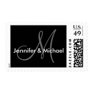 Monogram M Custom Wedding Bride Groom Names Postage Stamp