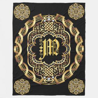 Monogram M CUSTOMIZE To Change Background Color Fleece Blanket