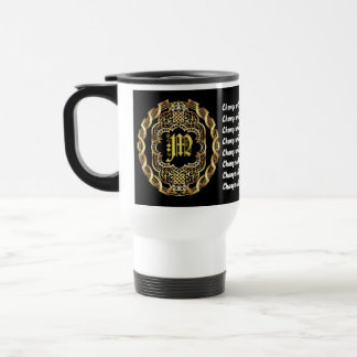 Monogram M CUSTOMIZE To Change Background Color Travel Mug