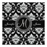 Monogram M Damask Black Wedding Invitations