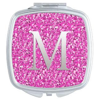 Monogram M druzy crystal glitter - fuchsia pink Vanity Mirrors