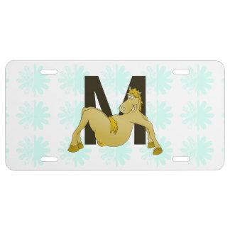 Monogram M Flexible Horse Personalised License Plate