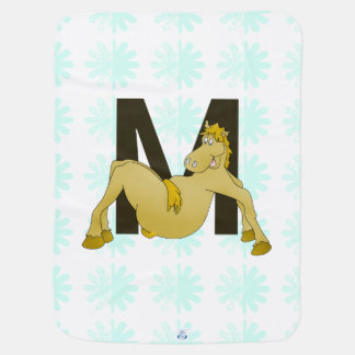 Monogram M Flexible Horse Personalised Swaddle Blanket