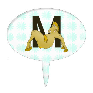 Monogram M Flexible Pony Personalised Cake Topper