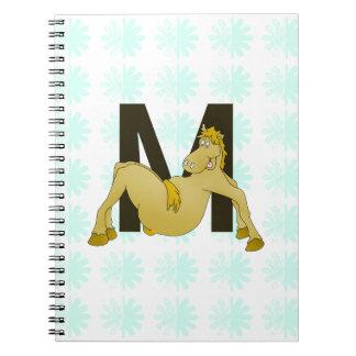 Monogram M Flexible Pony Personalised Spiral Notebook