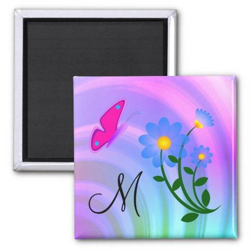 Kittens Cats Pink Flowers Butteflies Button Refrigerator Magnet