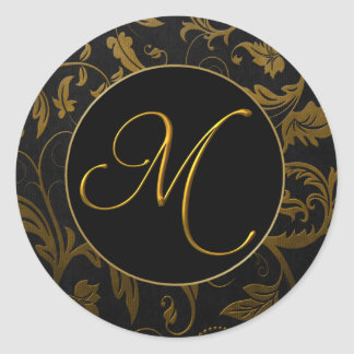Monogram M Gold and Black Damask Wedding Seal Round Sticker