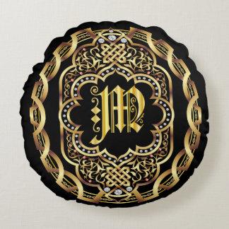Monogram M IMPORTANT Read About Design Round Pillow