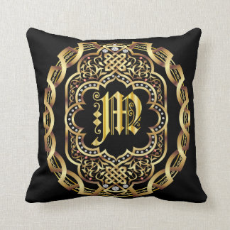 Monogram M IMPORTANT Read About Design Throw Pillow