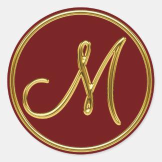 Monogram M in 3D gold Classic Round Sticker