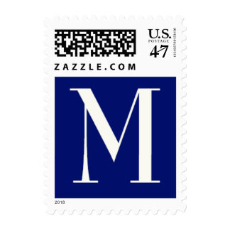 """Monogram """"M"""" in cream and navy Postage Stamp"""