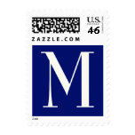 "Monogram ""M"" in cream and navy Stamp"