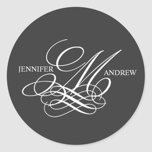 Monogram M Logo Names Wedding Stickers Charcoal
