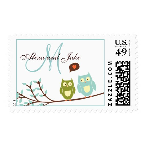 Monogram M Names Love Owls Wedding Postage Stamp