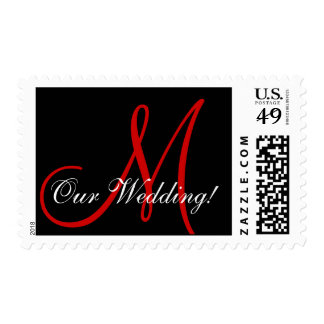 Monogram M Our Wedding Red Postage Stamp