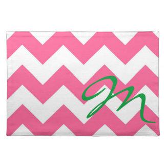 Monogram M Pink JUMBO  Chevron Placemat  Mally Mac Cloth Place Mat