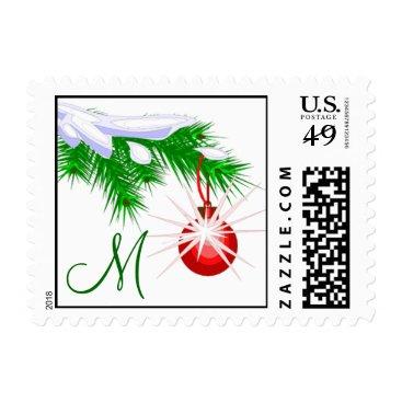 Christmas Themed Monogram M Red Ornament Christmas Postage Stamp