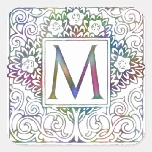 Monogram M Square Sticker