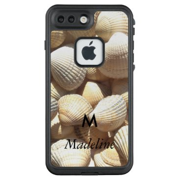 Beach Themed Monogram M Tropical Exotic Summer Beach Sea Shells LifeProof FRĒ iPhone 7 Plus Case
