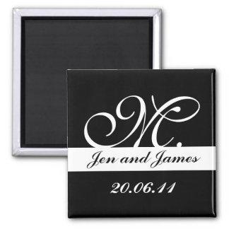 Monogram M Wedding Black & White Save the Date Fridge Magnets