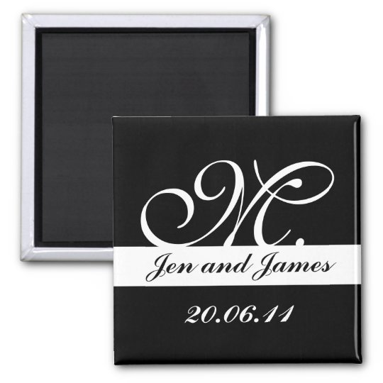 Monogram M Wedding Black & White Save the Date Magnet