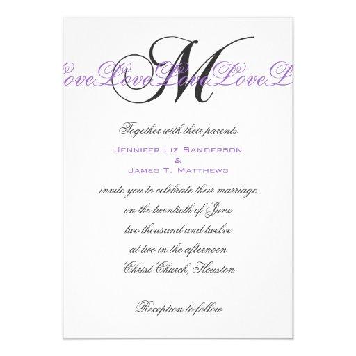 Monogram M Wedding Invitations Purple Silver Zazzle