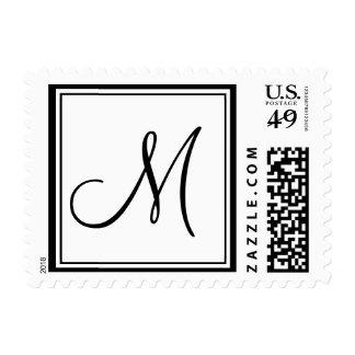 Monogram M Wedding Postage Stamp White Black