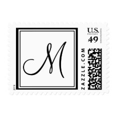 Monogram M Wedding Postage Stamp White Black at Zazzle