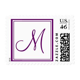 Monogram M Wedding Postage Stamp White Purple