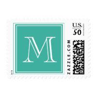 Monogram M Wedding Postage Stamps Turquoise
