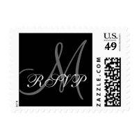 Monogram M Wedding RSVP Postage Stamp