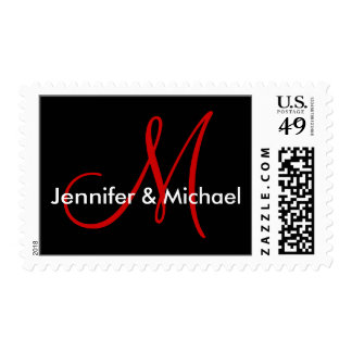 Monogram M Wedding Stamp Postage - Customized