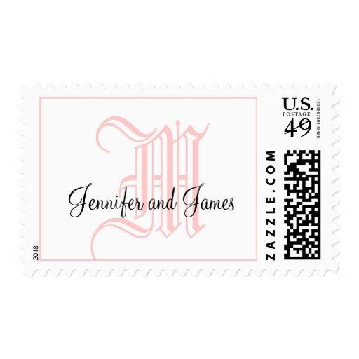Monogram M Wedding Stamp with Names Pink & White