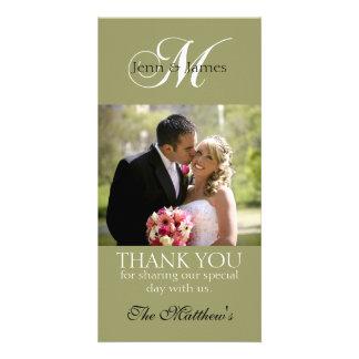 Monogram M Wedding Thank You Photo Cards Green