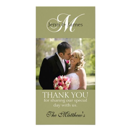 Monogram M Wedding Thank You Photo Cards Green