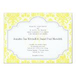 "Monogram M Yellow  Damask Wedding Invitations 5.5"" X 7.5"" Invitation Card"