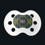 """Monogram MacKenzie Tartan Pacifier<br><div class=""""desc"""">One of the Scottish tartans for the MacKenzieClan with Celtic Knot decoration and Monogrammed Initial. If you would like another tartan not shown here,  please feel free to message me. Please provide the STA Reference number for the tartan pattern you would like if possible.</div>"""