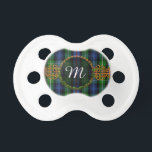 "Monogram MacKenzie Tartan Pacifier<br><div class=""desc"">One of the Scottish tartans for the MacKenzieClan with Celtic Knot decoration and Monogrammed Initial. If you would like another tartan not shown here,  please feel free to message me. Please provide the STA Reference number for the tartan pattern you would like if possible.</div>"