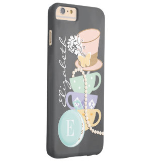 Monogram Mad Hatter Teacups and Hat Barely There iPhone 6 Plus Case