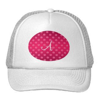 Monogram magenta pink anchors polka dots trucker hat