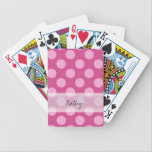 "Monogram Magenta Pink Chic Polka Dot Pattern Bicycle Playing Cards<br><div class=""desc"">Monogram Magenta Pink Chic Polka Dot Pattern. Trendy, fun, cute, girly, stylish, modern magenta and pink polka dot pattern with pink polka dots against a magenta background. The design includes a transparent white sash that can be customized with your monogram or name. Personalize it further by adding photos and/or text...</div>"