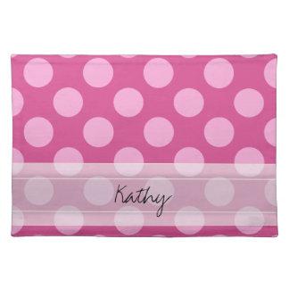 Monogram Magenta Pink Chic Polka Dot Pattern Cloth Place Mat