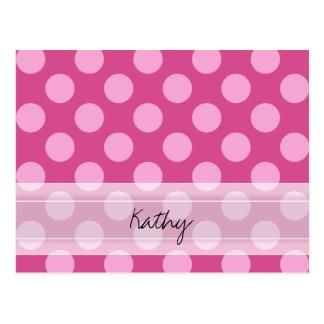 Monogram Magenta Pink Chic Polka Dot Pattern Postcard