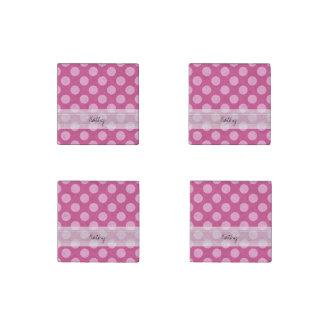 Monogram Magenta Pink Chic Polka Dot Pattern Stone Magnet
